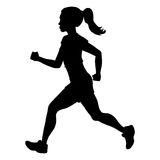 Vector Silhouette of Running Young Woman Stock Photos
