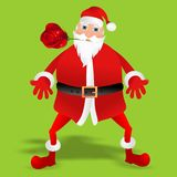 Bad Santa Claus with red rose present. Vector silhouette of Santa Claus with red rose present Royalty Free Stock Images
