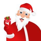 Bad Santa Claus with small present. Vector silhouette of Santa Claus with very small present in his hand Stock Photo