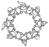 Vector silhouette Santa Clauses circle. Royalty Free Stock Images