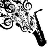 Vector Silhouette of Saxophone with Musical Symbols Stock Image