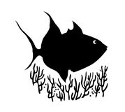 Vector silhouette of sea fish Stock Photo