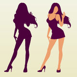 Vector silhouette of woman. Vector Silhouette of Pinup Girl stock illustration