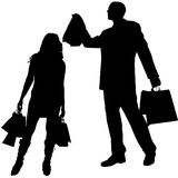 Vector silhouette shopping Royalty Free Stock Image