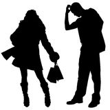Vector silhouette shopping Royalty Free Stock Photos