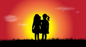Vector silhouette of siblings. Stock Photos