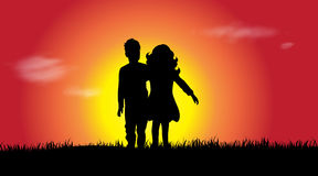 Vector silhouette of siblings. Stock Image