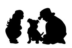 Vector silhouette of siblings. Stock Photo