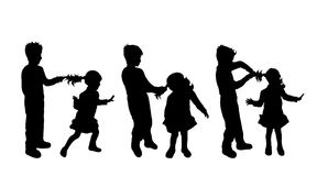 Vector silhouette of siblings. Royalty Free Stock Photos