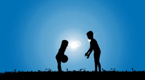 Vector silhouette of a siblings. Stock Image