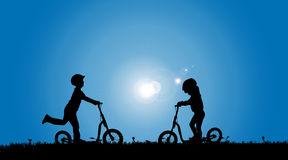Vector silhouette of a siblings. Stock Images
