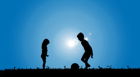 Vector silhouette of a siblings. Royalty Free Stock Image