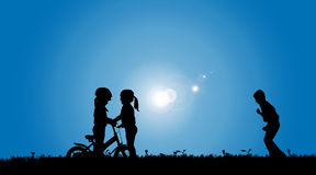 Vector silhouette of a siblings. Stock Photos