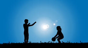 Vector silhouette of a siblings. Royalty Free Stock Photos
