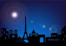 Vector silhouette skyline Paris by night Royalty Free Stock Images