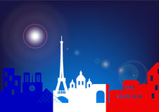 Vector silhouette skyline Paris by night with French flag Stock Images