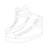 Vector silhouette sneakers on white background. Vector illustration of silhouette sneakers isolated on white background Royalty Free Stock Images