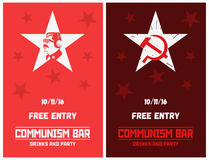 Vector silhouette of the Soviet dictator. Vector communist style flyer templates for cafe, bar or party. Royalty Free Stock Photography