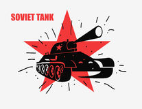 Vector silhouette of the Soviet tank against red star Stock Photography