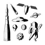 Vector silhouette space, cosmos objects icon set. Space, cosmos objects silhouette icon set. Planet with ring, craters, comet, satellite asteroid or meteor vector illustration