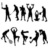 Vector silhouette of sports. Stock Photography