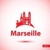 Vector silhouette of the symbol of Marseille, France. Royalty Free Stock Photos
