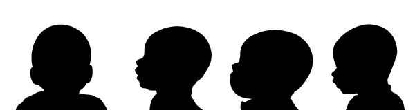Vector silhouette of a toddler. Royalty Free Stock Photography
