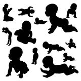 Vector silhouette of a toddler. Stock Images
