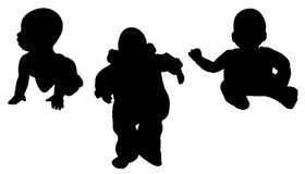 Vector silhouette of a toddler. Stock Image