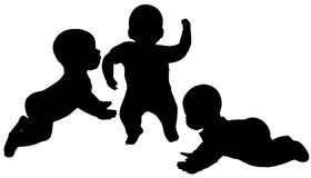 Vector silhouette of a toddler. Royalty Free Stock Image
