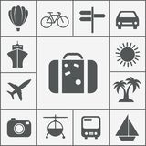 Vector silhouette travel icon set. Vector silhouette travel and vacation icon set with a hot air balloon  cruise liner  bicycle  car  plane  bus  helicopter Royalty Free Stock Image