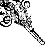 Vector Silhouette of Trombone with Musical Symbols Stock Images