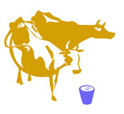 Vector silhouette two cows. On white background Royalty Free Stock Photos