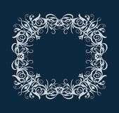 Vector silhouette vintage white rectangle oval frame with retro flourish baroque ornament isolated on blue background. Flourish Rectangular Round Oval Frame stock illustration