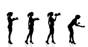 Vector silhouette waiter. Royalty Free Stock Images