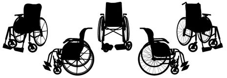 Vector silhouette of a wheelchair. Royalty Free Stock Photo
