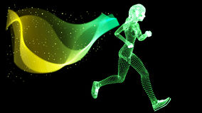 Vector Silhouette Woman athletes on running race Stock Images