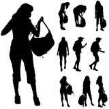 Vector silhouette of woman. Stock Photos