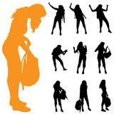 Vector silhouette of woman. Royalty Free Stock Images