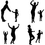 Vector silhouette of a woman with a child. Royalty Free Stock Photography