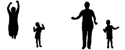 Vector silhouette of woman and child. Stock Photography