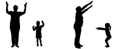 Vector silhouette of woman and child. Royalty Free Stock Image