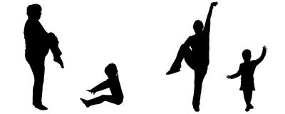 Vector silhouette of woman and child. Stock Image