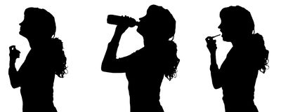 Vector silhouette of woman. Stock Images
