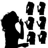 Vector silhouette of woman. Royalty Free Stock Photography