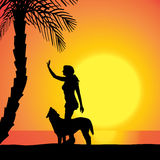 Vector silhouette of a woman with a dog. Royalty Free Stock Photo