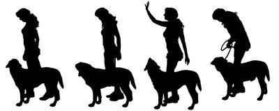 Vector silhouette of a woman with a dog. Stock Photo