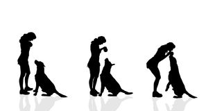 Vector silhouette of a woman with a dog. Stock Images