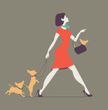 Vector silhouette of woman with dog. Young woman walking dogs. Fashionista with dogs Royalty Free Stock Image