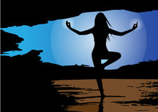 Vector - Silhouette of woman doing yoga in mountains. Vector illustration Stock Photo
